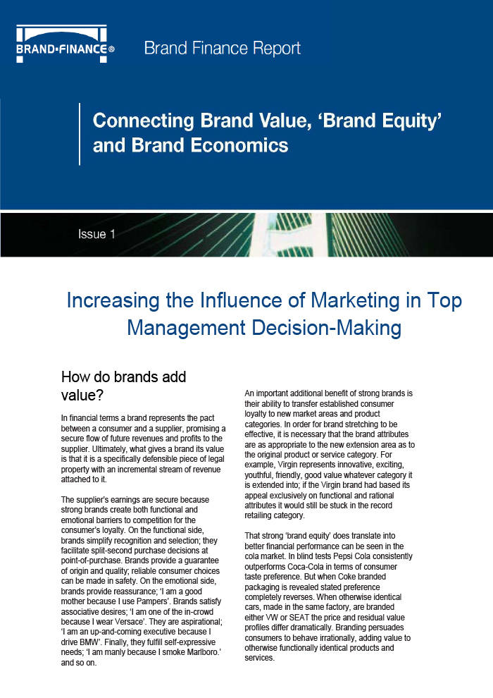 Connecting Brand Value, 'Brand Equity' and Brand Economics