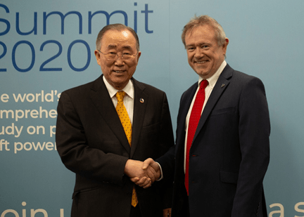 David Haigh and Ban Ki-Moon at the Global Soft Power Summit 2020
