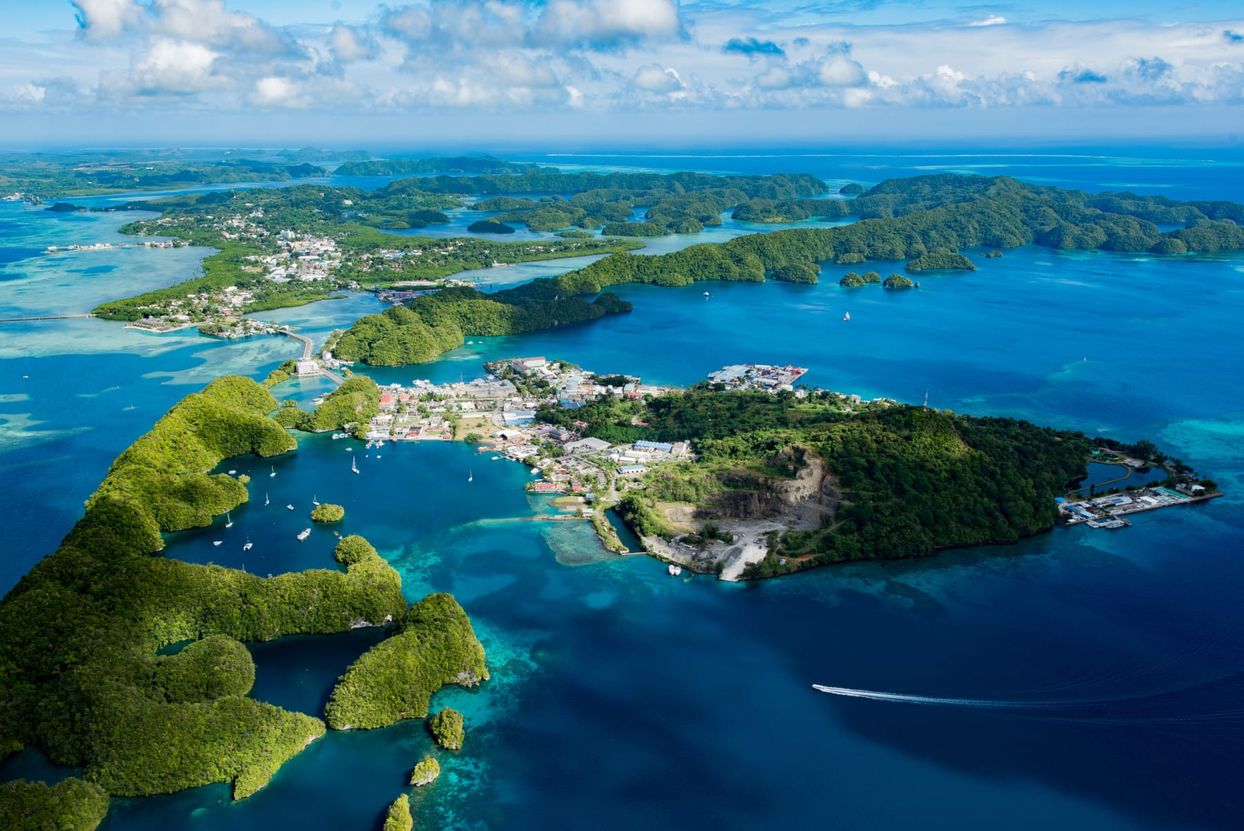 Palau Malakal Island in Oceania, the continent that ranks high on sustainability